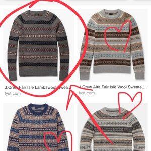 Gray lambs wool J. Crew sweater fair isle, ❄️